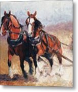 Pulling Contest Clydesdales Draft Horse Paintings Metal Print