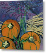 Pumpkins And Wheat Metal Print