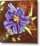 Purple Cactus Flower Metal Print
