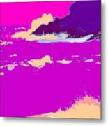 Purple Crashing Waves Metal Print