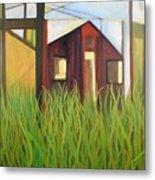 Purple House In A Green Field Metal Print