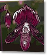 Purple Orchid Woodcut Metal Print