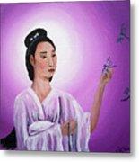 Quan Yin With Three Dragonflies Metal Print