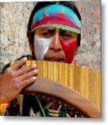 Quechuan Pan Flute Player Metal Print