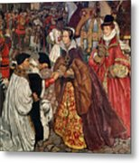 Queen Mary And Princess Elizabeth Entering London Metal Print by John Byam Liston Shaw
