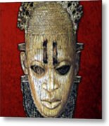 Queen Mother Idia - Ivory Hip Pendant Mask - Nigeria - Edo Peoples - Court Of Benin On Red Velvet Metal Print by Serge Averbukh