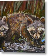 Raccoons From River Mural Metal Print