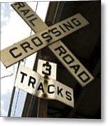 Rail Road Sign Metal Print