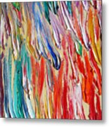 Rain. Colorful Painter Palette. Exhausted Paint And Abstract Painting. Metal Print