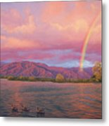Rainbow At Sunset Metal Print