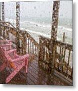 Rainy Beach Evening Metal Print