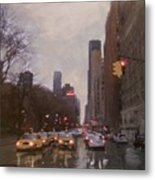 Rainy City Street Metal Print