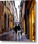 Rainy Day Shopping In Italy 2 Metal Print
