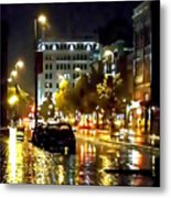 Rainy Night In Green Bay Metal Print