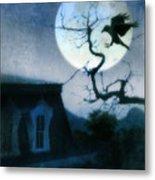 Raven Landing On Branch In Moonlight Metal Print
