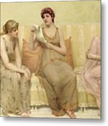 Reading The Story Of Oenone Metal Print by Francis Davis Millet