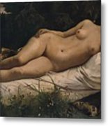 Recumbent Nymph Metal Print by Anselm Feuerbach