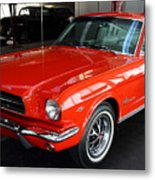 Red 1965 Ford Mustang . Front Angle Metal Print by Wingsdomain Art and Photography