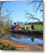 Red Barn And Pond Metal Print
