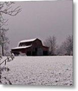 Red Barn Under Snow Metal Print