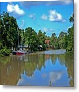 Red Boat And The Magnolia River Metal Print