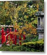 Red Bridge & Japanese Lantern, Autumn Metal Print by The Irish Image Collection