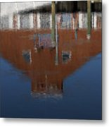Red Building Reflection Metal Print