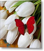 Red Butterfly On White Tulips Metal Print by Garry Gay