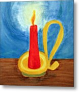 Red Candle Lighting Up The Dark Blue Night. Metal Print