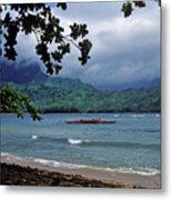 Red Canoe On Hanalei Bay Metal Print by Kathy Yates