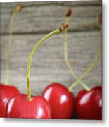 Red Cherries On Barn Wood Metal Print