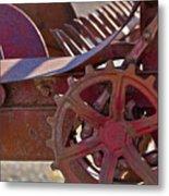 Red Drive Cog Metal Print