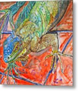 Red Eyed Iguana Metal Print