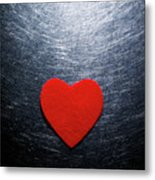 Red Felt Heart On Stainless Steel Background. Metal Print