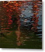 Red Fishes In A Pond Pictorial II Metal Print