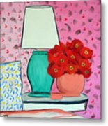Red Flowers Pink Room Metal Print