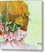 Red Hair And Apple Blossoms Metal Print
