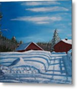 Red House In Winter Metal Print