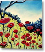Red Poppies Under A Blue Sky Metal Print