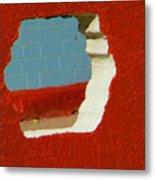 Red Porch Grey Wall Metal Print