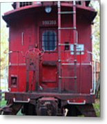 Red Sante Fe Caboose Train . 7d10476 Metal Print by Wingsdomain Art and Photography