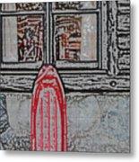 Red Sled Waiting Metal Print
