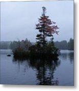 Red Tree Island Metal Print