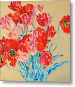 Red Tulips With Gold Background Metal Print