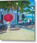 Red Umbrella In San Juan Metal Print