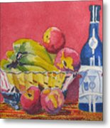 Red Wall Blue Wine Metal Print