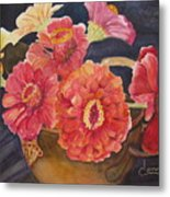 Red Zinnias Metal Print