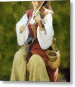 Renaissance Fiddler Lady Metal Print