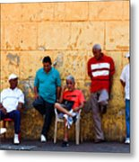 Retired Men And Yellow Wall Cartegena Metal Print