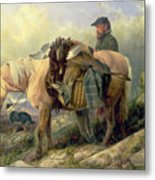 Returning From The Hill Metal Print by Richard Ansdell